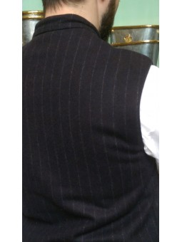 Waistcoat wool dark blue with fine grey stripes